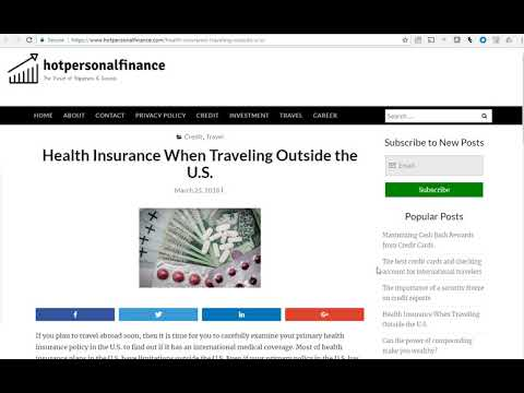 Learn more about Health Insurance when Travelling Outside of US with HotPersonalFinance blog