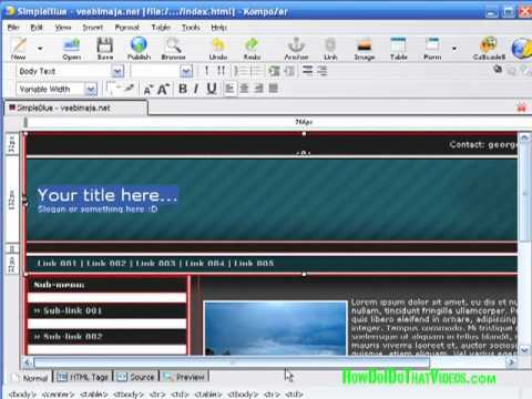 How to Create and Customize Web Templates in Kompozer