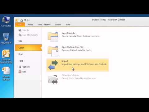 How to import Outlook data (PST file) to Outlook 2010 HD