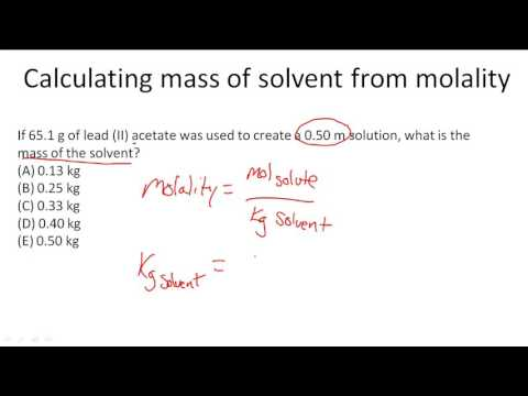 Calculating mass of solvent from molality