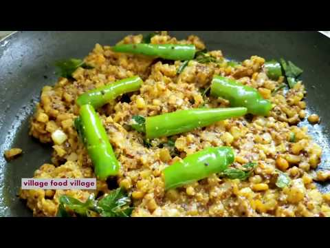 Very Rare Banana Fry Stem Recipe - How To Cook Banana Stem Curry Village Style - With English Sub