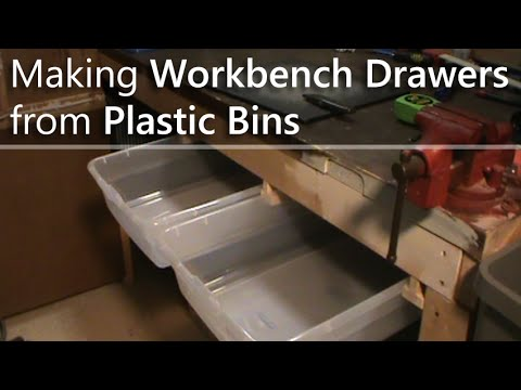 Making Workbench Drawers from Plastic Bins