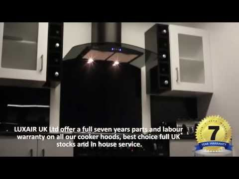 Black Curved Glass Kitchen Extractor - Luxair Cooker Hoods