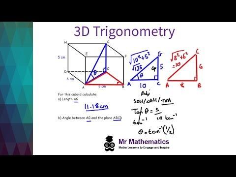 Trigonometry and Pythagoras in 3D Shapes Mathematics Revision