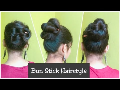 3 Simple Messy Bun Hairstyles With STICK -NO Pins & Rubber band | Easy Techniques To Use Bunstick
