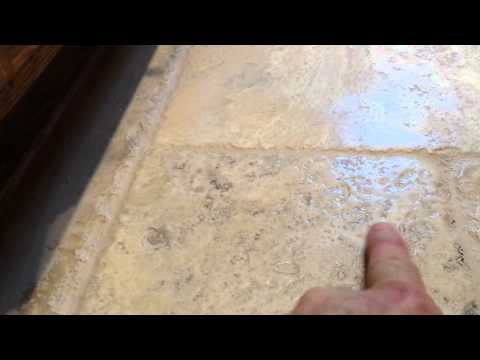 Color Sealing A Tumbled Travertine Floor.