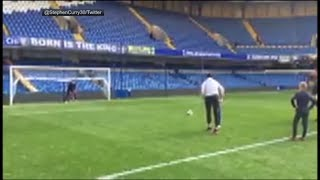 Steph Curry slots home a penalty kick in Chelsea