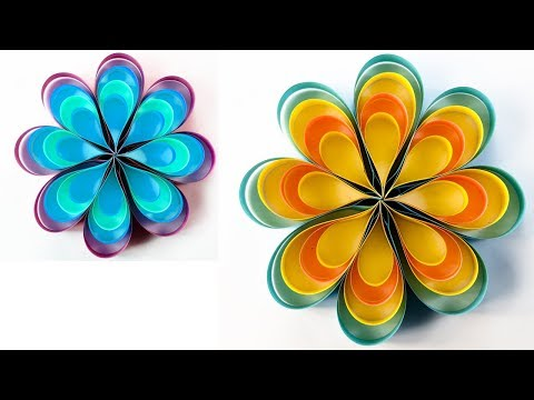 How To Make Easy & Beautiful Paper Flowers | Making Paper Flowers | Wall decoration ideas