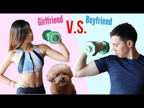 WHO IS MORE FIT? GIRLFRIEND VS BOYFRIEND 情侶健身大挑戰! FULL BODY WORKOUT BATTLE AT HOME