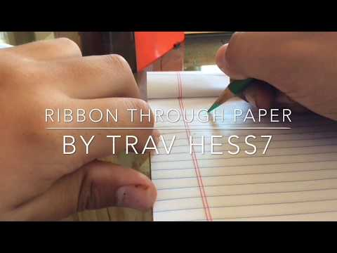 How to draw a ribbon through lined paper