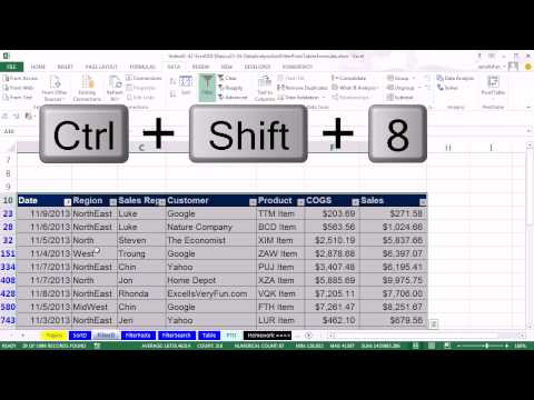 Office 2013 Class #41: Excel Basics 23: Sort and Filter, Basic Data Analysis (24 Examples)