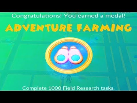 Pokemon Go - 1000 Quests Ranger Gold Medal & 8th Shiny Aron