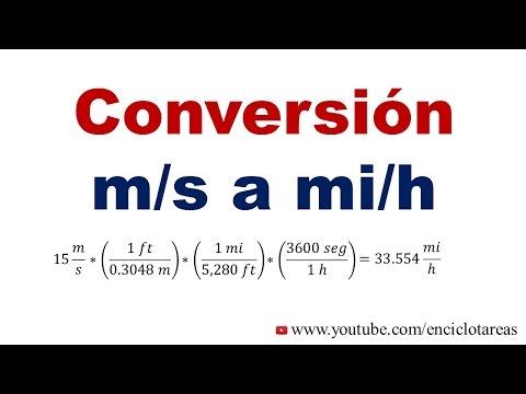 Convertir de m/s a mi/h