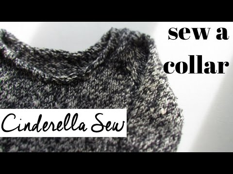 Sew collar on wool sweater - Cut off turtleneck and make new neckline on a shirt - Hand sewing