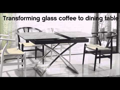 Transforming small glass table turns into dining table by murphysofa vancouver