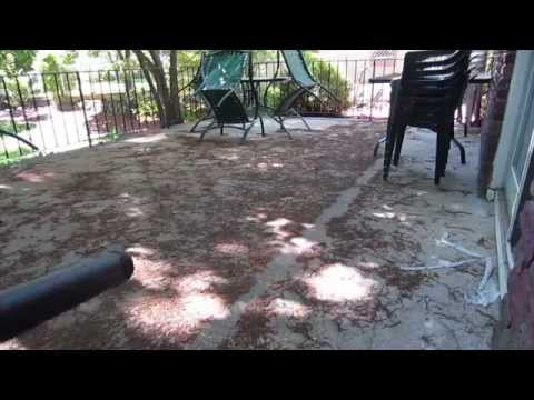 How to clean a stained concrete patio