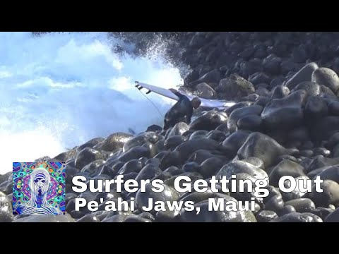 Jaws, Maui - Surfers Getting Out.