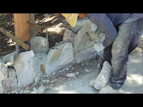 how to cut a stone to fit a dry-wall fence