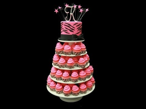 Pink Zebra Striped Cupcake Tower