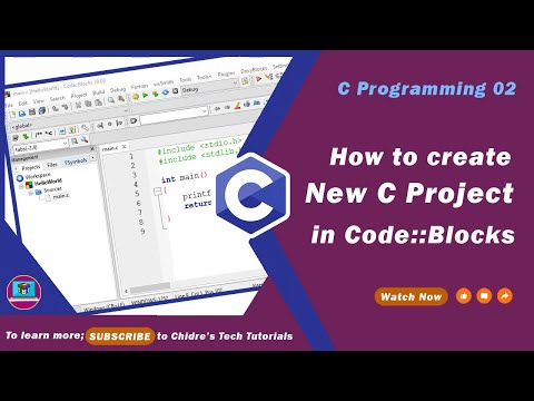 C programming tutorial 19 - C - Creating a new C project in Code Blocks IDE