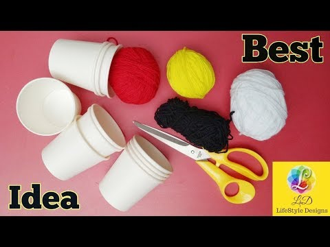 Best out of Waste Idea 2018 || How to make flower vase using Tea Cup & woolen 2018