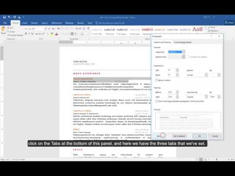 Use tabs to organize content in your Microsoft Word Resume