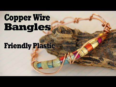 Copper Bangle Bracelets with Friendly Plastic