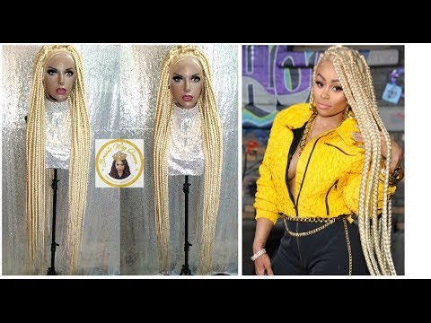 How To: Blac Chyna Inspired Jumbo Box Braid Wig- 58inches w/Full Lace Wig