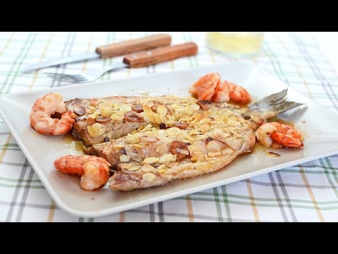 Baked Sea Bass with Prawns & Almonds - Easy Oven-Roasted Sea Bass Recipe