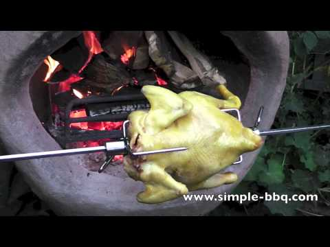 How to Rotisserie Chicken in front of a chimenea