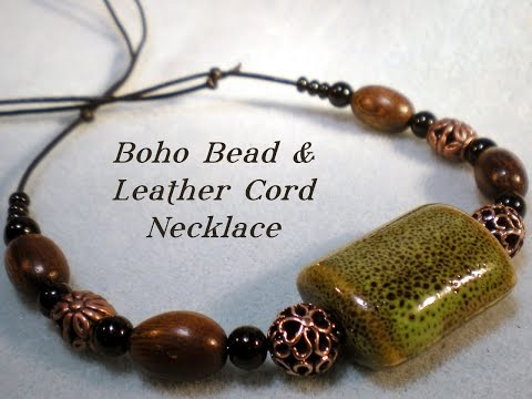 Boho Bead and Leather Cord Necklace Tutorial