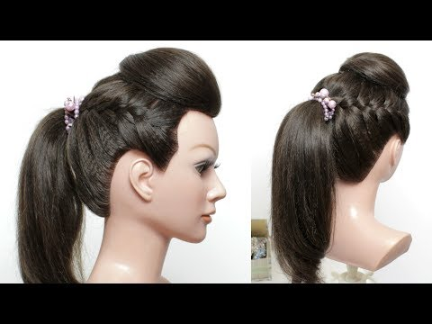 Hairstyle For Long Hair. Ponytail With Front Puff And French Braids