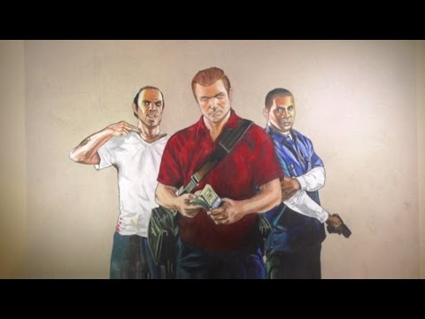 GTA Timelapse drawing of Trevor Michael and Franklin