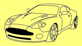 How to draw Aston Martin DB9  Fast and Furious 7 car - Как нарисовать Астон Мартин