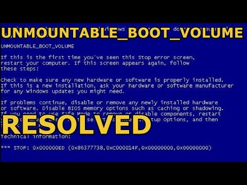 How To Fix Unmountable_Boot_Volume Blue Screen Error STOP code 0x000000ED