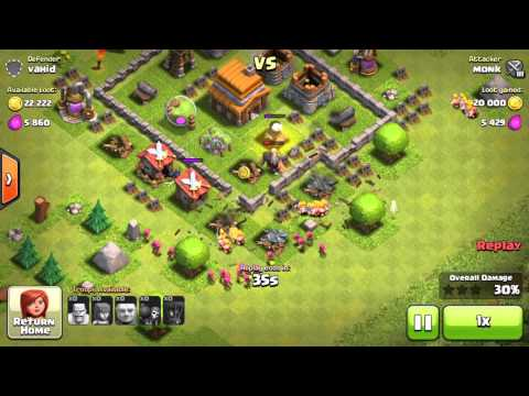 COC Monk Vs Vahid Clash of Clans Game Play