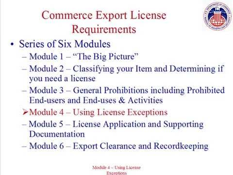 4. Using License Exceptions
