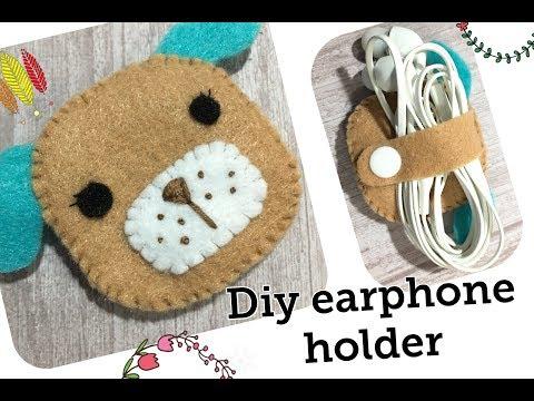 Diy felt earphones holder tutorial  # ที่พันหูฟังจาก ผ้าสักหลาด ง่ายๆ # sewing project No.19