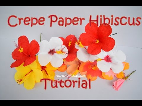 How to make Hibiscus Flower from Crepe Paper | Tutorial