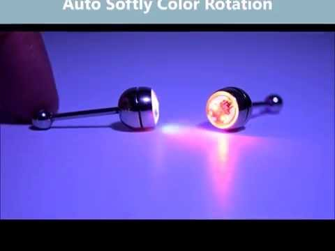 LED multi color Light up Tongue Piercing - glow tongue ring