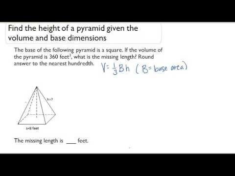 Find the height of a pyramid given the volume and base dimensions