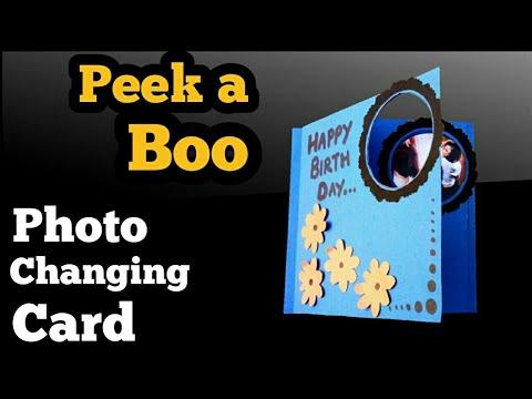 Peek a Boo Card Tutorial   Handmade Birthday Card   Photo Card   Magic Card Tutorial  