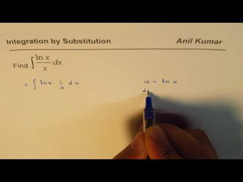 Integration by Substitution Natural Log Function ln x/x
