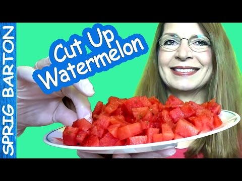 FASTEST WAY to CUT UP WATERMELON into BITE-SIZED PIECES - How To Quick & Easy Just Watch!
