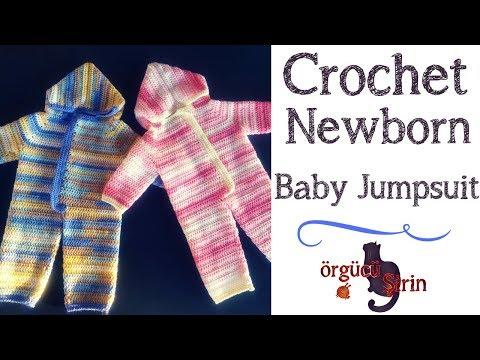 Crochet Newborn Baby Jumpsuit / Sleeper