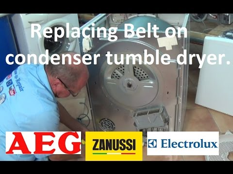 How to replace condenser tumble dryer belt on Zanussi, Electrolux & Aeg