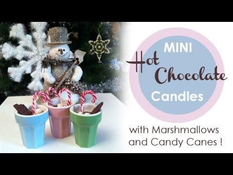 ❤ Tutorial : How to make Mini Hot Chocolate Candles with Candy Canes and Marshmallows! ❤