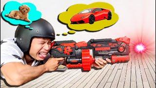 Tony   Thử Thách Bắn Trúng Món Nào Mua Món Đó - Nerf Gun Battle