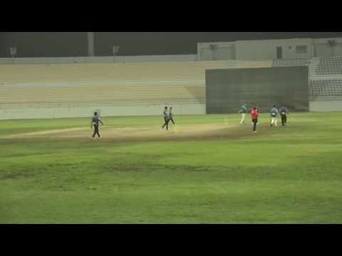 Pradeep of Hanan Cricket Club Qatar Batting in HANAN Premier League 2016 QATAR