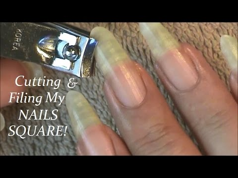 Cutting & Filing My Long Almond Shape Nails Square